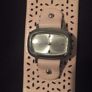 GUESS soft pink leather cuff watch